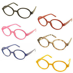 6pc Kids Toy Eyewear Geek Nerd Wizard Costume Oval Shape Glasses Frames NO LENS