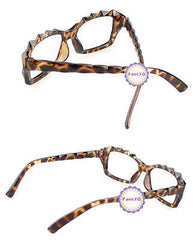 Leopard Retro Classic Diamond Cut Fashion Glasses Frame Unisex Eyewear No Lens
