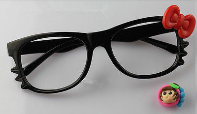 Cute Nerd Glass Frame with Bow Tie Cat Eyes for Girls Black Red NO LENS Costume