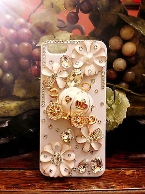 3D Luxury iPhone SE 100% Handmade Cinderella Pumpkin Cart Wagon White Hard Case