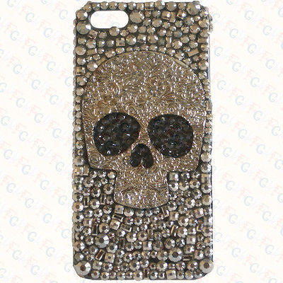 Elegant Luxury Handmade Sparkle Style Bling Skull Cover Case for iPhone 4S 5 5S