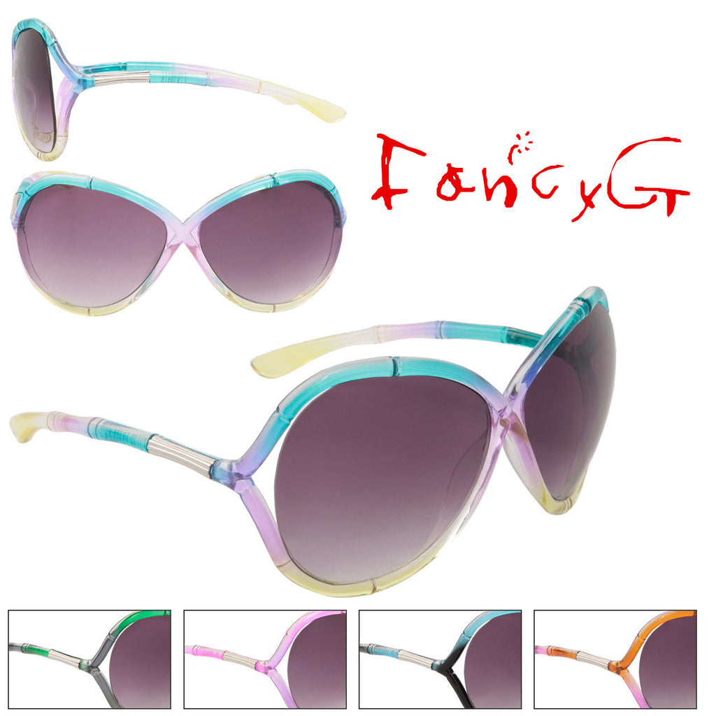 Women Fashion Sunglasses Tri Colors Stylish UV 400 Protection Assorted Package of 12