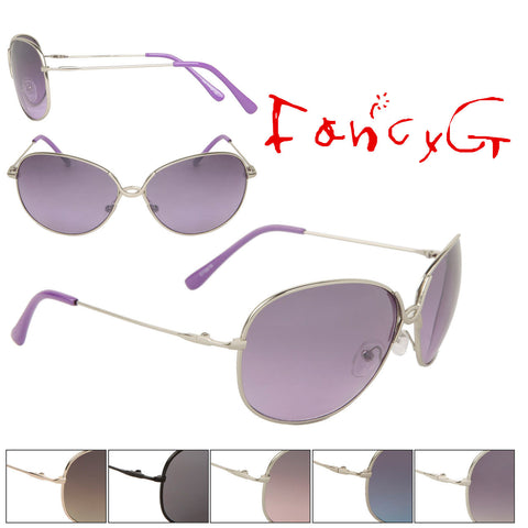 Women's Fashion Sunglasses 100% UV Protection Stylish Metal Frame Assorted Package of 12