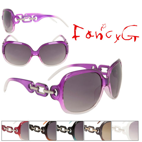 Women's Fashion Sunglasses Diamond Chain Style Vintage Look Assorted Package of 12