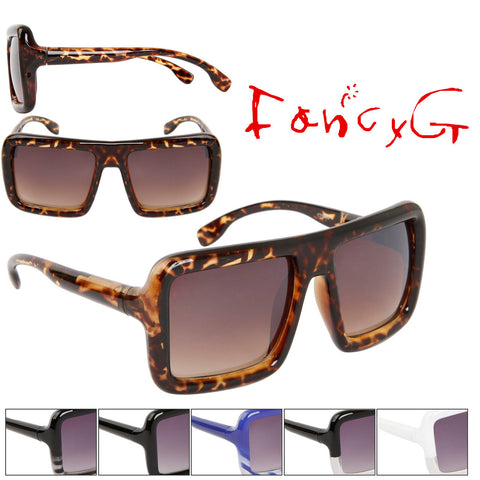 Unisex Fashion Sunglasses 100% UV Protection Stylish Square Shape Assorted Package of 12