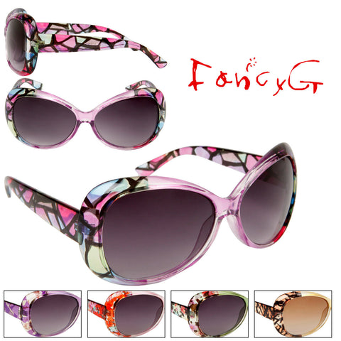 Women's Fashion Sunglasses Hot New Fashion Trend Transparent Frames with Colorful Patterns Assorted Package of 12