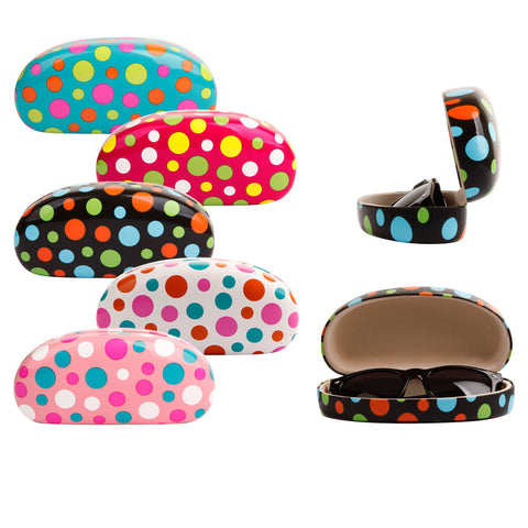 High Quality Colored Sunglasses Carrying Cases with Cute Polka Dots Patterns