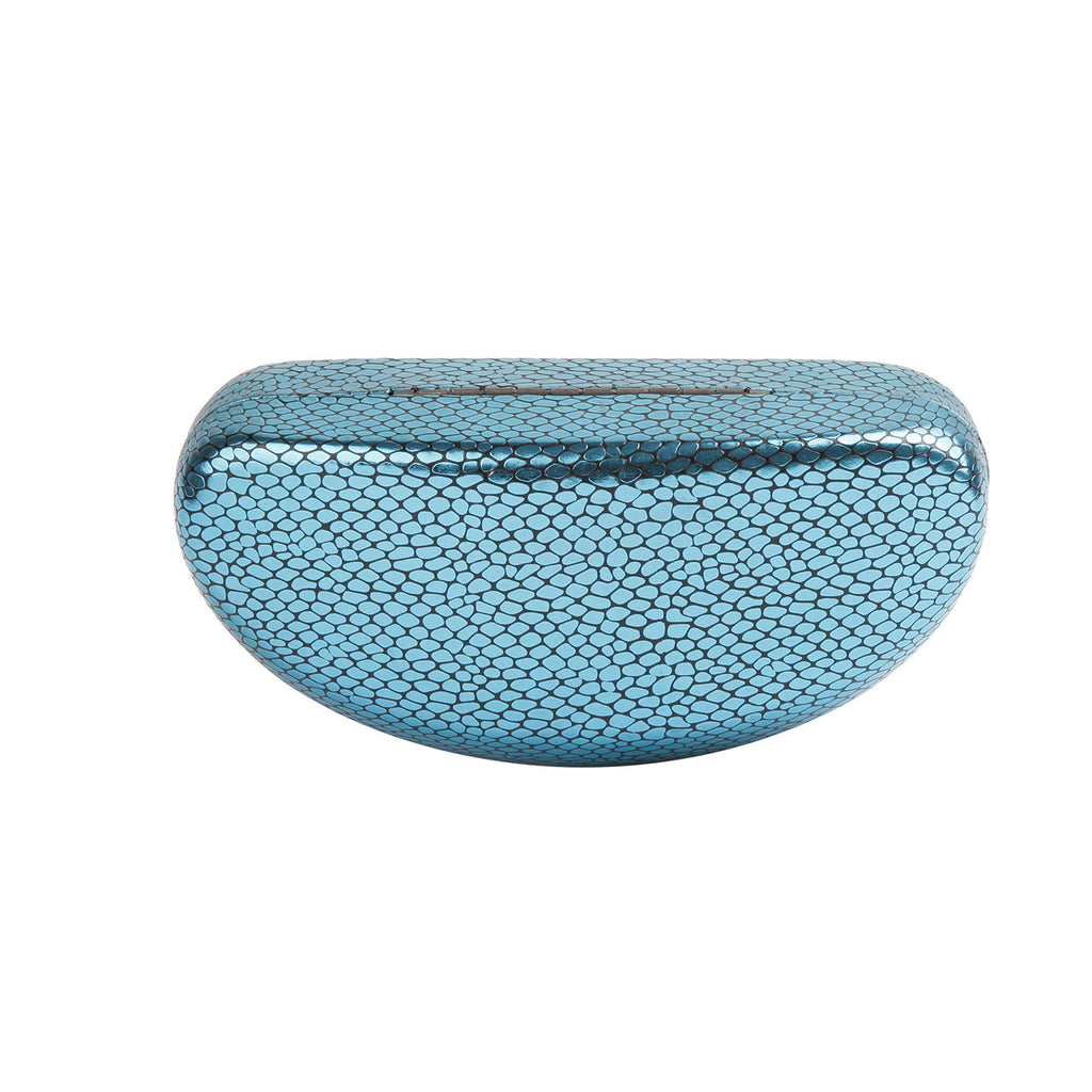 High Quality Colored Sunglasses Carrying Cases with Shimmering Metallic Snake Skin Print Patterns