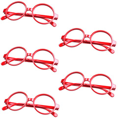 Lot of 5 pcs Classic Geek Nerd Style No Lens Round Glasses Frame Costume Cosplay Eyewear