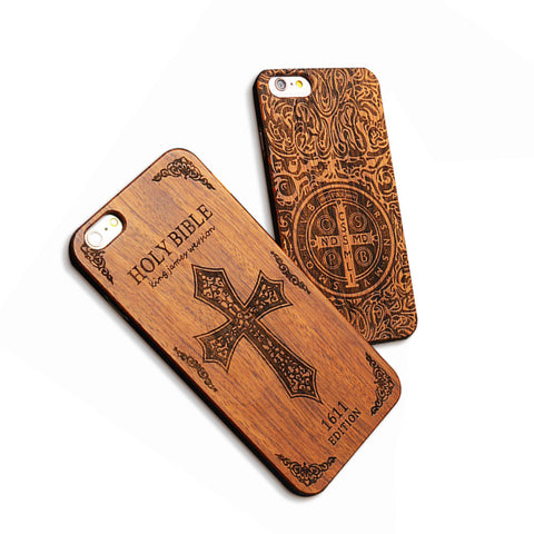 Retro Real Wood Phone Cases For Iphone 7 7 Plus Case High Quality Durable Carving Skull Embossed Wooden