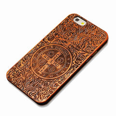 Nature Embossed Wood Phone Cases For iPhone 5 5s SE 6 6s Plus Novel Carving Wooden Case PC Cover Hard Shell
