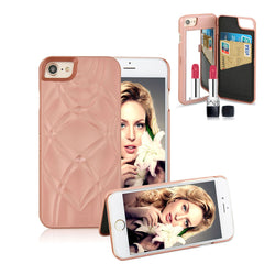 Luxury Lady Mirror Wallet Flip Case For iphone 7 7 Plus Cover Fashion 3D Makeup Mirror Leather Card Slot Phone Cases