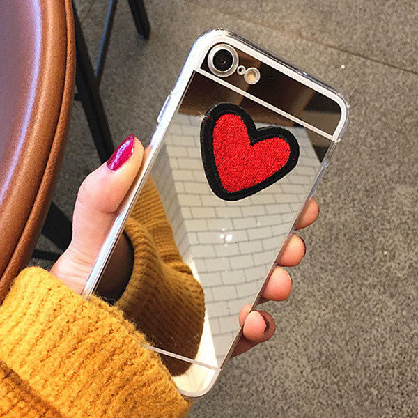 Fashion Clear Mirror Case For iphone 7 6 6S Plus Fundas Cute DIY Stitches Love Heart Pattern Cover Soft TPU Plating Phone Cases