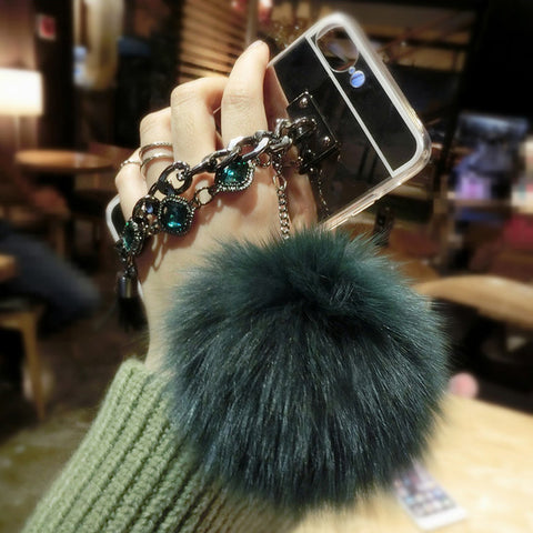 Fashion Soft TPU Mirror Case For iphone 7 6 6S Plus 5 5S SE Cover Retro Chain Tassel fox puff pompoms fur ball Phone Cases Shell