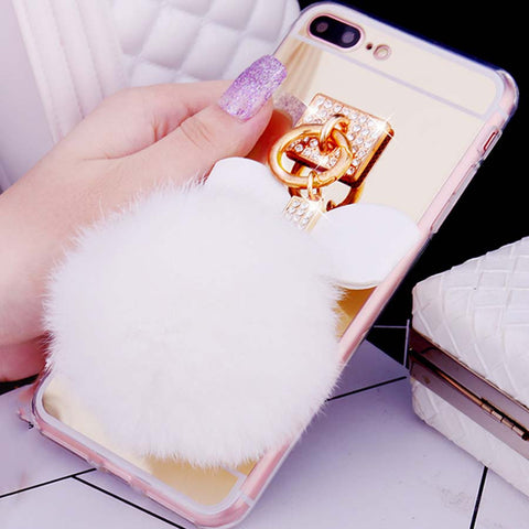 Fur Ball Bowknot Soft TPU Mirror Cases for For iphone 7 7 Plus Ultra Thin Plating Frame Protect Back Cover