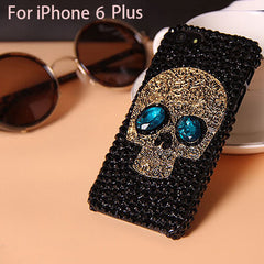 Handmade Diamond Metal saphire eye Skull back Cover phone case for Iphone 5 5s 6 6 plus for Samsung galaxy S6 S6 edge