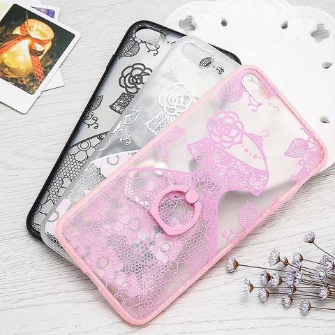 Hot Fashion Lace Style Ring Holder Stand Phone Cases For iPhone 7 6 6S Plus Cover Lovely Embossed Princess Dresses Case