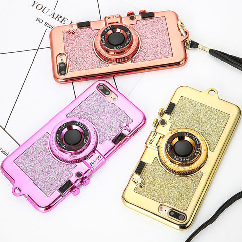 Luxury 3D Plating Camera Phone Cases For iphone 7 6 6s Plus Case High Quality Soft Back Cover Stand Holder Mirror With Lanyard