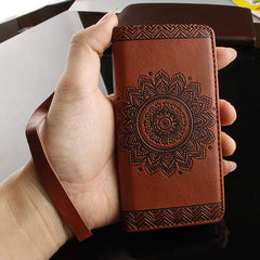 Retro Wallet Leather Flip Case For Samsung Galaxy J3 J5 A3 A5 2016 G530 C5 Funda Paisley Flower Mandala Henna Floral Stand Cover