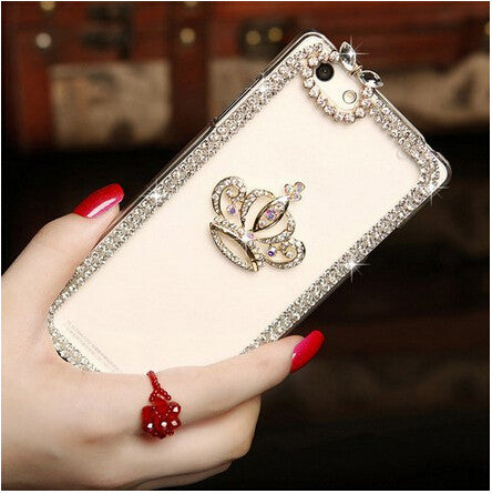 Rhinestone bling crystal clear back cover luxury DIY guitar Crown High heel pattern Diamond 3D phone case for iphone 5 5s SE