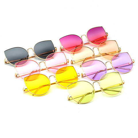 New Oversized Clear Ocean Cateye Women Sunglasses
