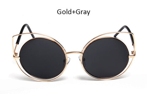 New Round Big Hollow Fashion Metal Frame Cat Eye Style UV400 Women Sunglasses