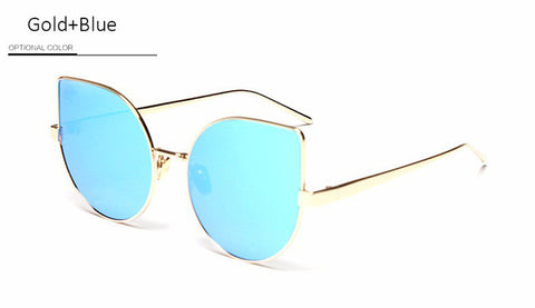 New Gothic Cat Eye Sunglasses Women Retro Fashion Clear Mirror Cateye Sun Glasses Vintage Woman Female UV400