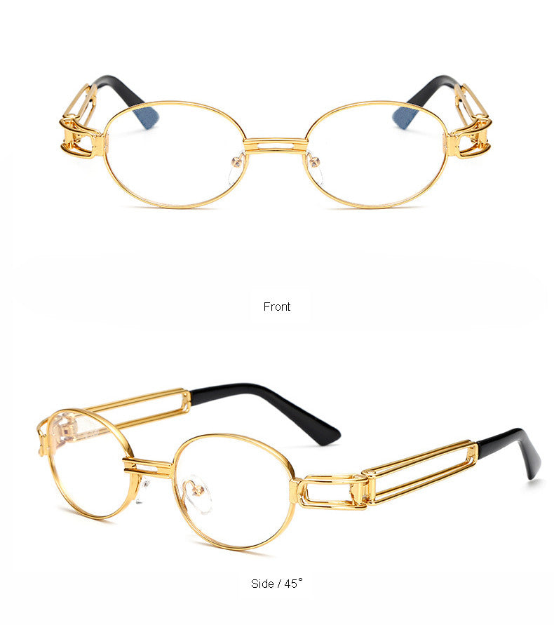 New Clear Lens Gold Metal Frame Glasses Round Women Vintage Eye ...
