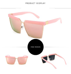 Fashion Sunglasses Large Size Women Brand Designer Vintage Flat Top Shades Sun Glasses