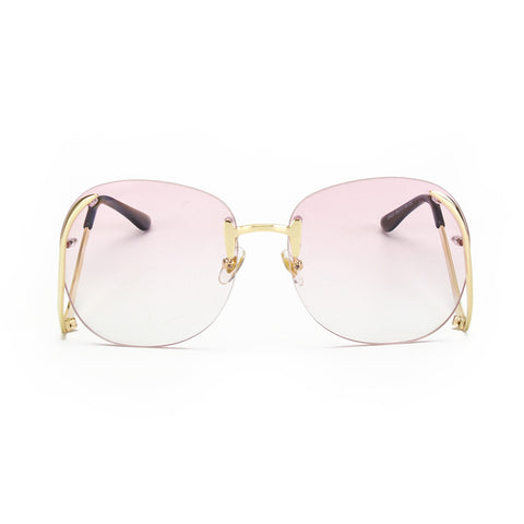 Women Retro Designer Rimless Frame Gradient Lens Bent legs Sunglasses UV 400 lens