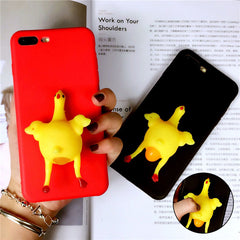 Funny 3D Cartoon Animal Phone Cases For iphone 7 6 6s Plus Case Soft TPU Vent toy Squishy Squeeze Lay egg hen chicken Cover