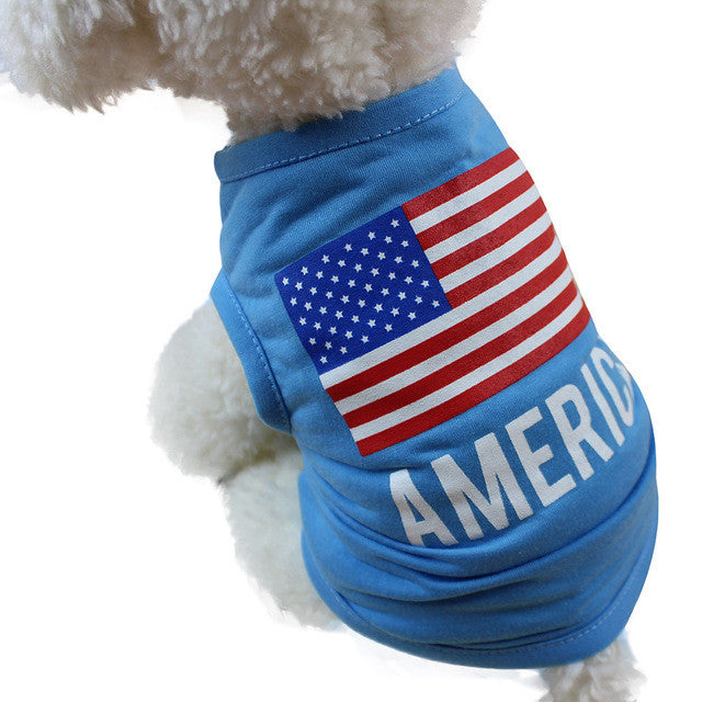 American Flag Dog Clothes for Small Dogs Spring Summer Pet Clothes