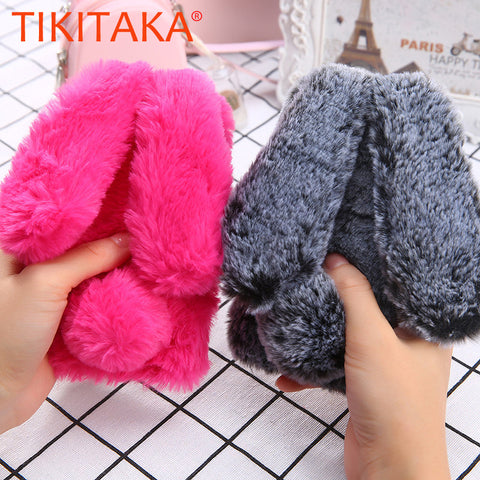 Fashion Soft Fluffy Wool Hair Fur Long Ear Rabbit Phone Cases for iphone 7 6 6s Plus Cover Bling Diamond Bow elegant Fitted Case