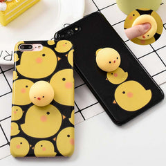 Squishy Mobile Phone Cases for iPhone 7 6 6s Plus Case Funny Pressure Release toys 3D Cute Cartoon Chicken Phone Cover Bag Shell