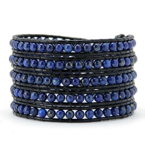 4MM Lapis Natural Stone Wrap Bracelet