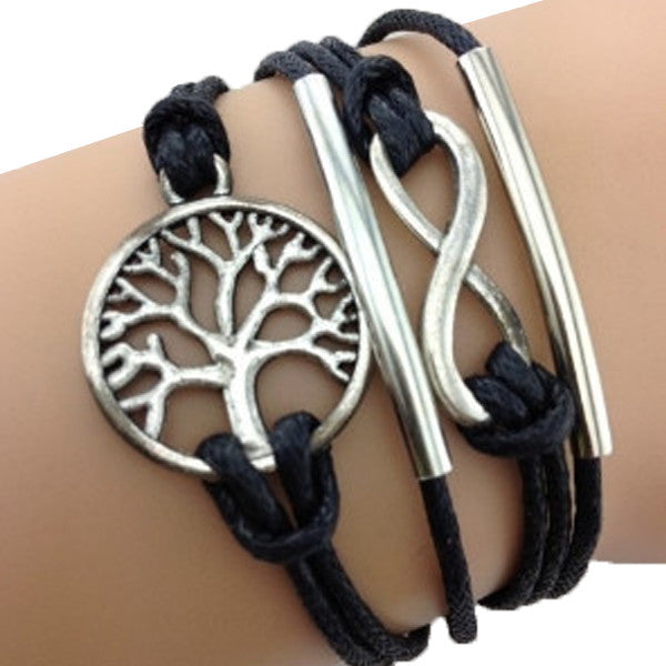 Infinity Tree of Life Black Bracelet