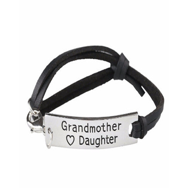 Grandmother Love Daughter Leather Strap Bracelet