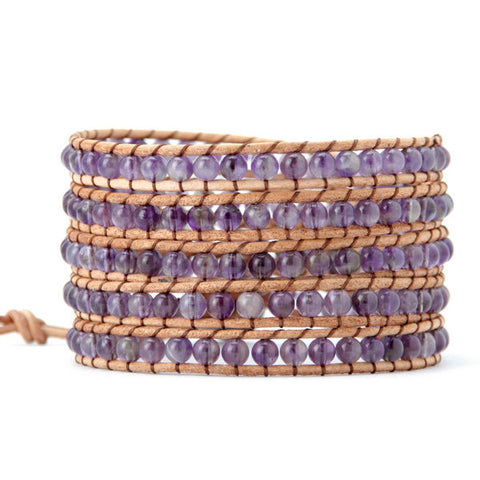 4MM Amethyst Natural Stone Wrap Bracelet