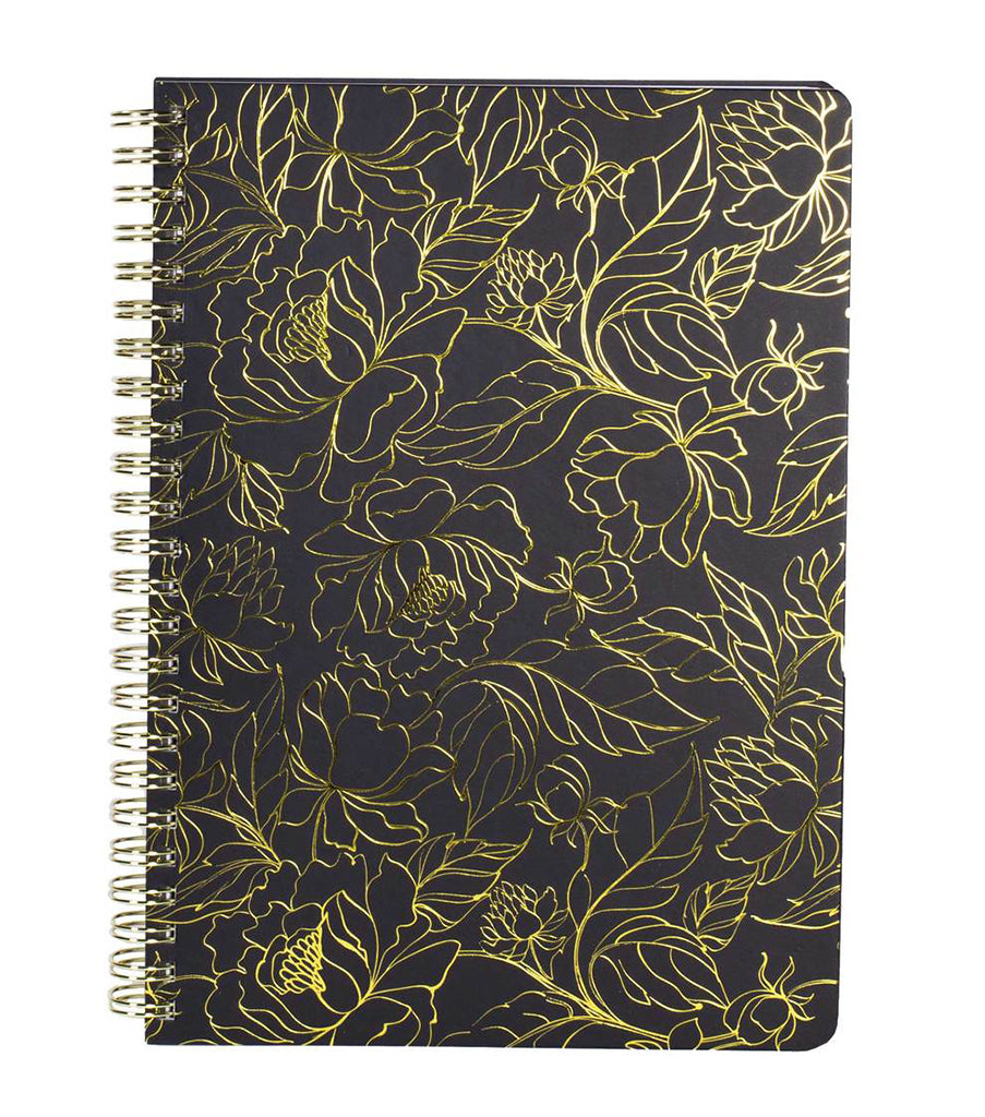 Steel Mill & Co. Mini Notebook, Floral Gold