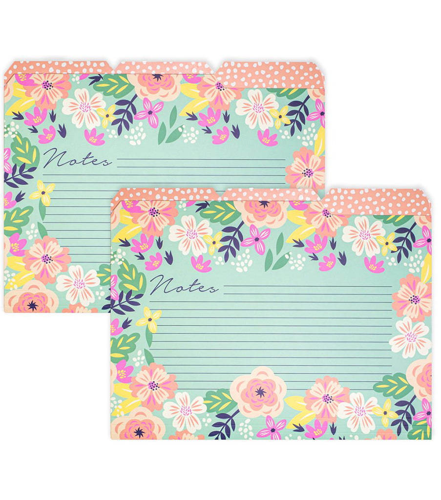 Steel Mill & Co. File Folders, Mint Floral - Set of 6