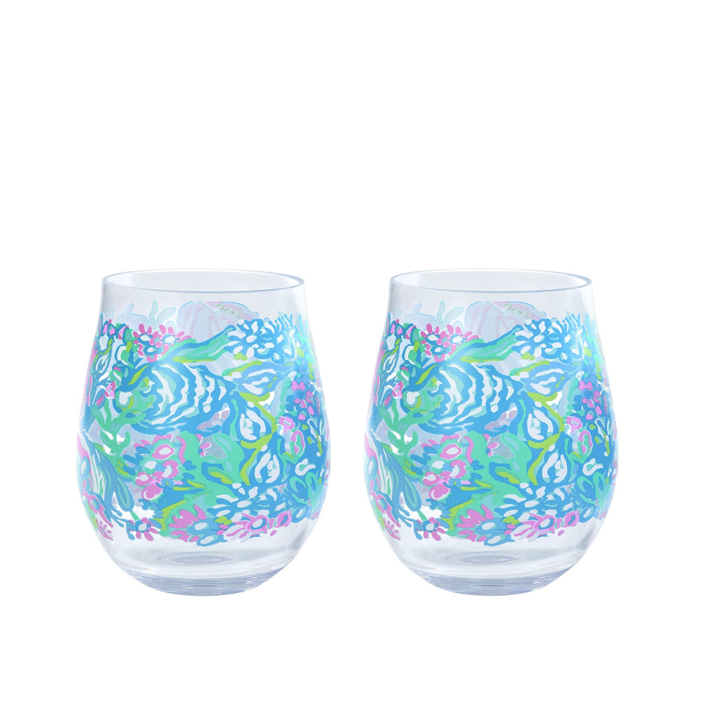 Lilly Pullitzer Acrylic Wine Glass Set, Aqua La Vista