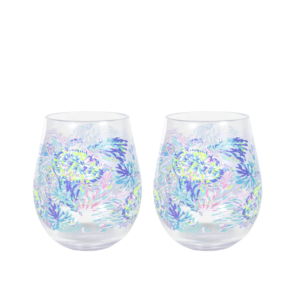 Lilly Pullitzer Acrylic Wine Glass Set, Shell of a Party