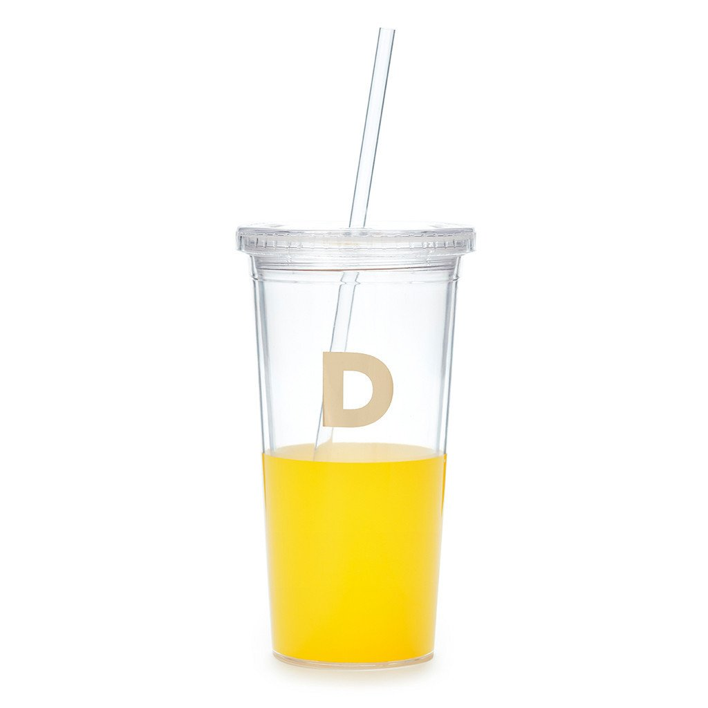 kate spade new york tumbler with straw - initial collection, d
