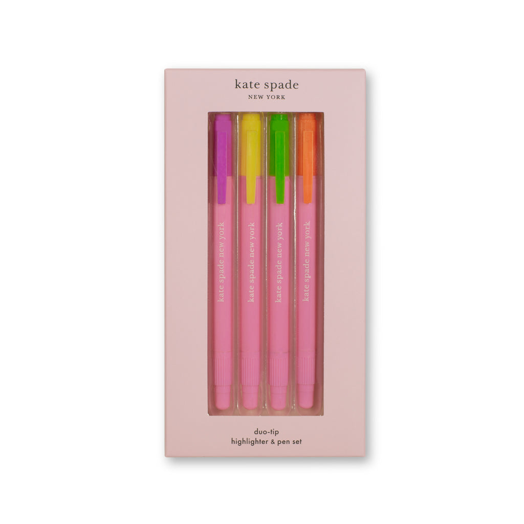 kate spade new york duo-tip highlighter & pen set