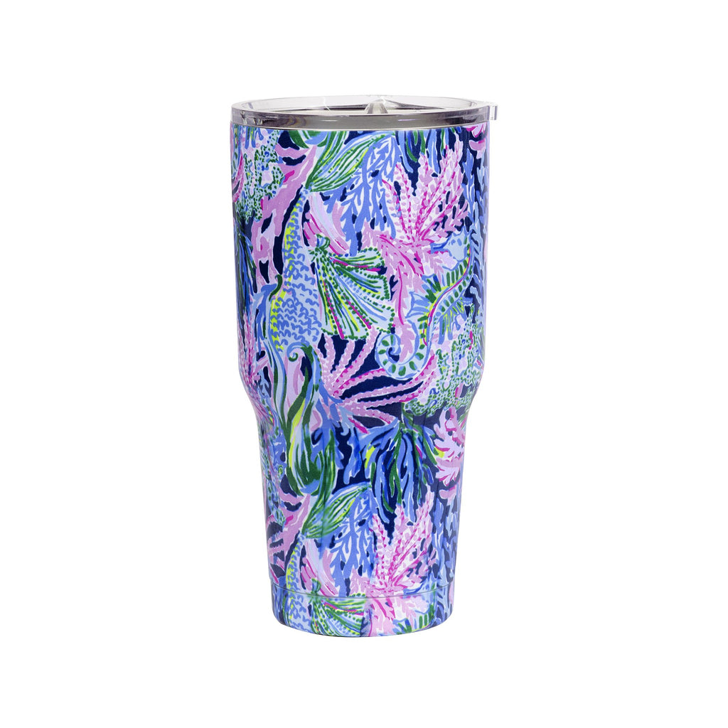 Lilly Pulitzer Stainless Steel Insulated Tumbler, Bringing Mermaid Back (30 oz)