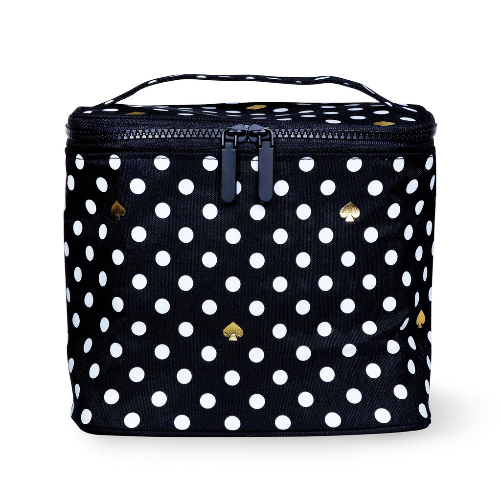 Lunch Tote, Polka Dots (Black/White)