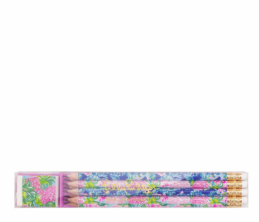 Lilly Pulitzer Pencil And Eraser Set, Assorted