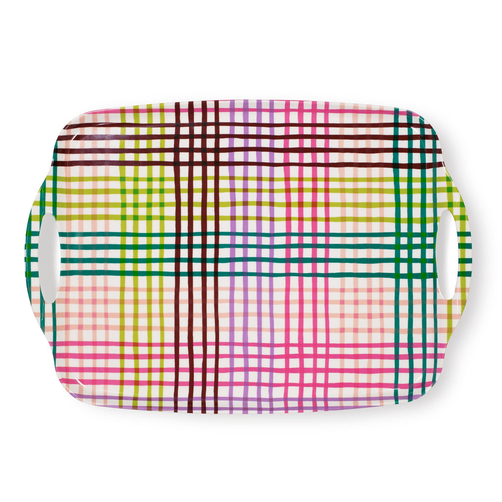 kate spade new york acrylic serving tray, rainbow gingham