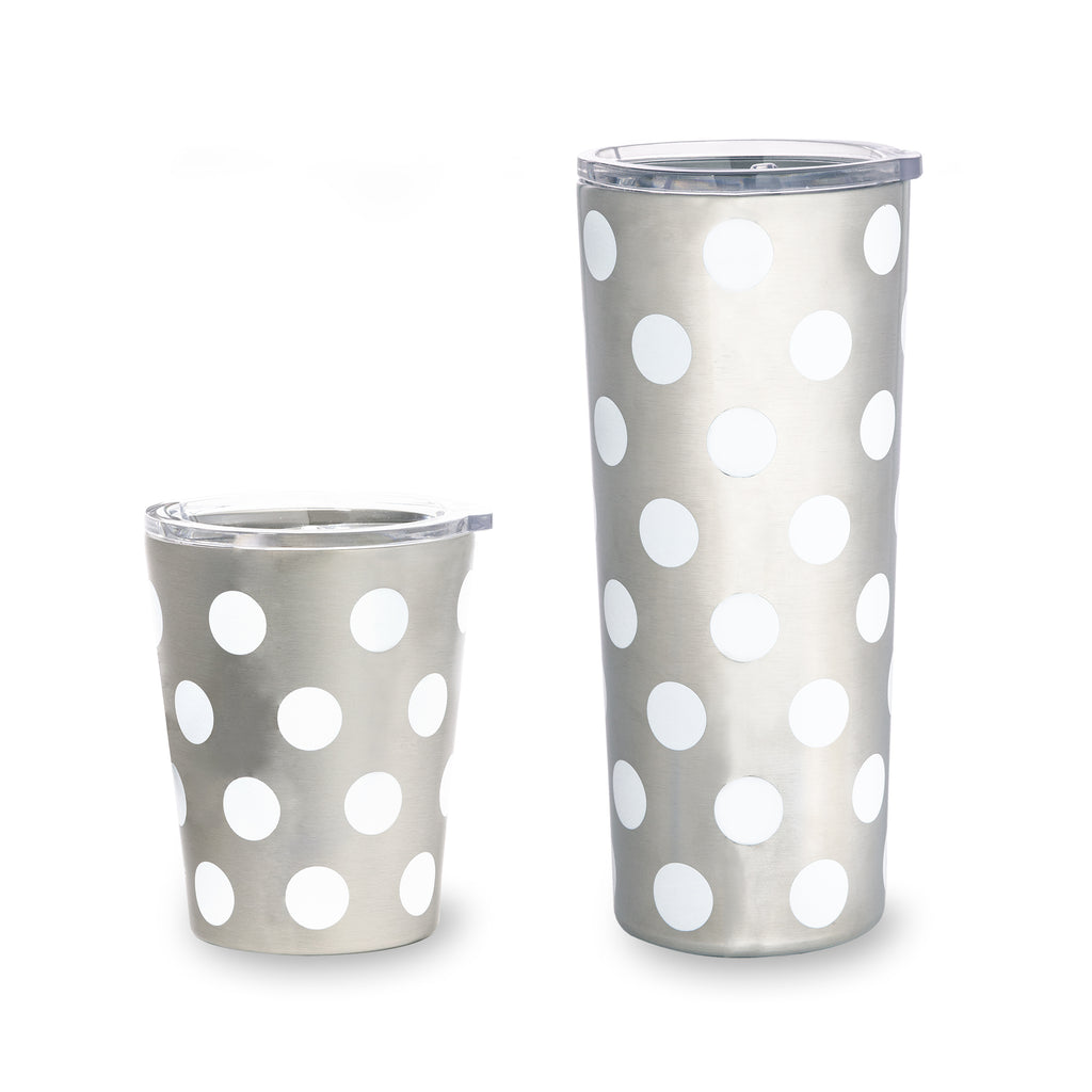 kate spade new york stainless steel 24oz tumbler, white dot