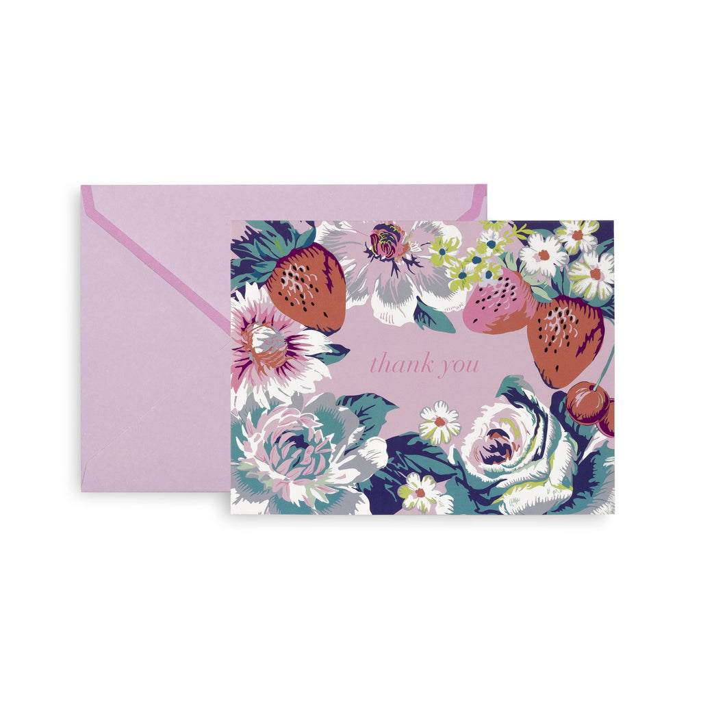 vera bradley thank you notecard set, Rosy Garden Picnic